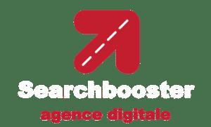 logo inversé blanc pour fond noir searchbooster agence digitale