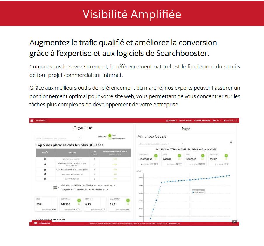 Visibilité SEO amplifiée My Easy Site Web by Searchbooster