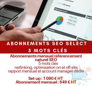 Abonnement mensuel référencement naturel SEO Select 5 mots clés hors contenus