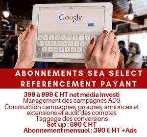 Abonnement mensuel référencement payant SMA PPC Select 399 à 999 € dépenses Google Ads / mois