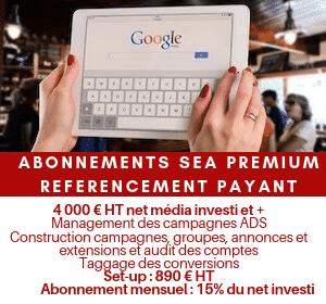 Abonnement mensuel référencement payant SMA PPC Premium au delà de 3 999 € dépenses Google Ads / mois