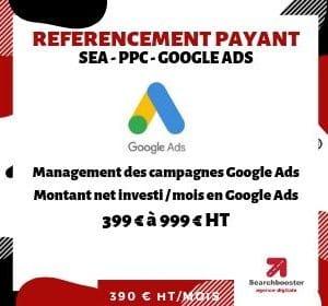 Abonnement mensuel référencement payant SEA PPC Select 399 à 999 € dépenses Google Ads / mois