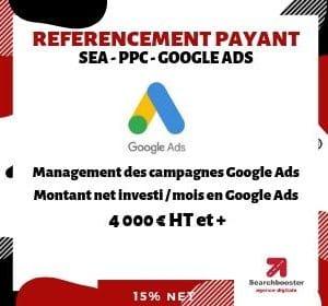Abonnement mensuel référencement payant SEA PPC Premium au delà de 3 999 € dépenses Google Ads / mois