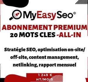 Abonnement mensuel référencement naturel SEO Premium 20 mots clés