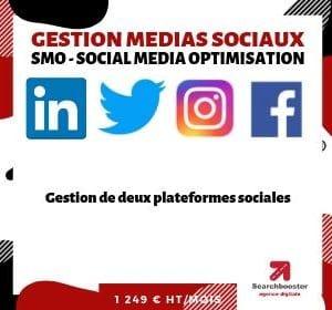 Abonnement mensuel gestion médias sociaux SMO  Elite 2 plateformes