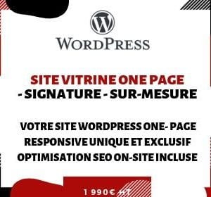 SITE VITRINE ONE PAGE WordPress