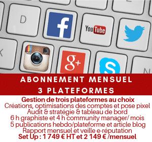 Abonnement mensuel gestion médias sociaux SMO Premium 3 plateformes