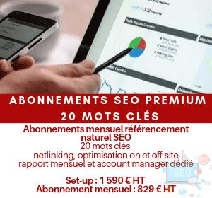 Abonnement mensuel référencement naturel SEO Premium 20 mots clés hors contenus
