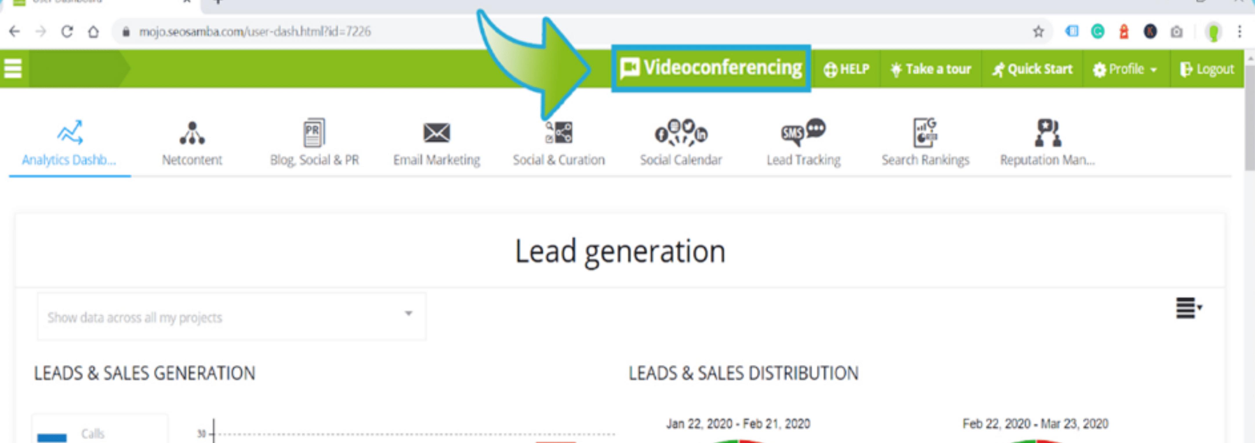 Visioconférence HD incluse dans le hub marketing Searhbooster